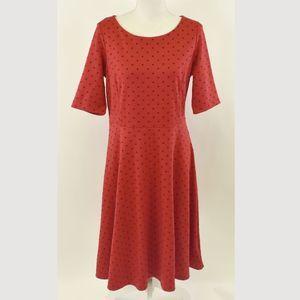 Lands' End red polka dots midi dress